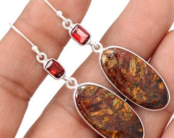 Brown Pietersite in Solid Sterling Silver. 2 1/4'' Long. Garnet Accents. 1436