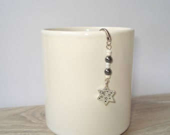 Sweet Tibetan silver bookmark - star and black and white pearls