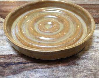 Handmade Ceramic Soap Dish, Pottery Soap Dish in Mustard Yellow, Bar Soap Holder, Bathroom Accessories, Yellow Soap Dish