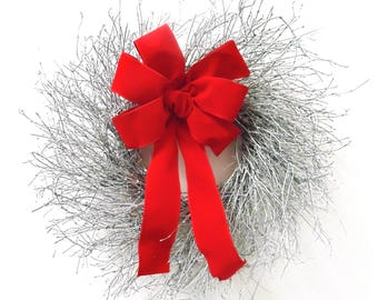 "22"" Silver Twig Wreath with Red Velvet Bow"