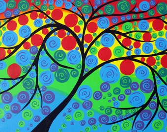 "Huge abstract painting, large  tree of life on painting, large canvas painting, large canvas art, huge art, huge painting, 36"" x 24"""