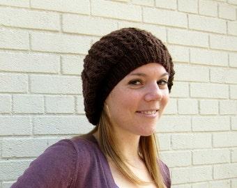 knit jocelena beret (chocolate brown)