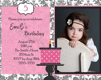 Girls Birthday Invitation with Photo (Printable )Digital File
