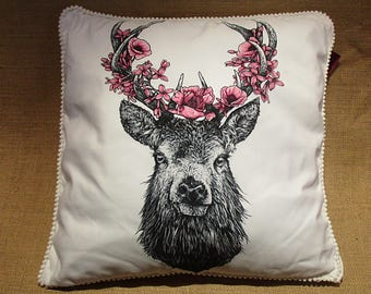 Deer with flowers pillow cover