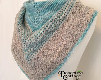 Knit Shawl - Hand Knit Scarf - Fashion Scarf / Shawl - Blue and Gray - Ready to Ship