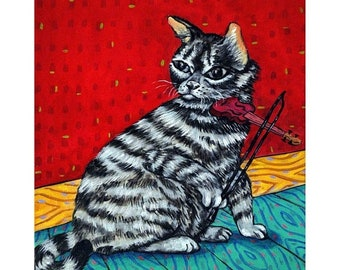 cat art - Gray American Shorthair Cat Playing the Violin Art Print, cat gifts, gift