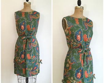 Vintage 1950s 1960s Paisly Green Dress 50s 60s Suzy Perette Linen Dress