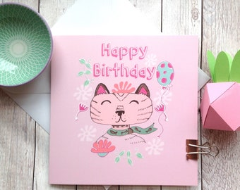 Cat Birthday Card, Happy Birthday, Cat Lover Card, Cat Lady, Girls Birthday, Coworker, Best Friend, Aunt Cards, Pet Lovers, Cute Animal Fan.