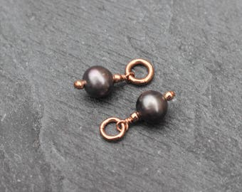 Rose Gold Filled, Freshwater Pearl, Dangles, Charms, Wire Wrapped, Earring Components, Rose Gold, Dark Pearl, Black Pearl, Raven Pearl