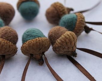 Wool Needle Felted Acorn Ornaments Mocha & Turquoise Blue