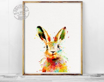 Bunny Print, Rabbit Watercolor Print, Watercolor Painting, Nursery Animal Wall Art, Woodland Animals Art, Rabbit Butt Print, Kids Room Decor