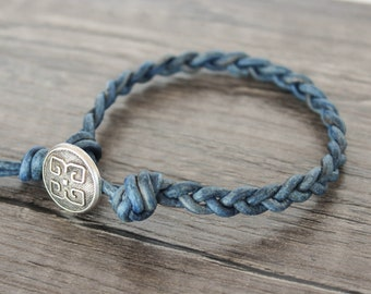 Blue Braided Leather Bracelet • blue leather braided bracelet • blue leather bracelet • blue braided leather bracelet • B1BL005