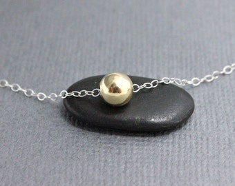 Gold ball on silver chain necklace, 6 mm gold filled bead 925 Sterling Silver, simple dainty everyday necklace, Valentine's gifts for her