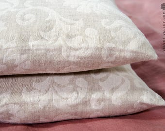 Linen floral pillow sham- vintage look washed taupe linen cushion- natural linen pillow- decorative pillow- linen bedding