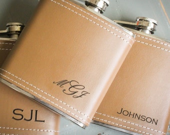 Custom Flask, Custom Wedding Flask, Personalized Flask, Genuine Leather Flask: Groom Gift for Him Valentine Groomsmen Bridesmaid Fathers Day
