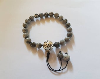 Knotted Natural Faceted Netstone Adjustable Bead Bracelet
