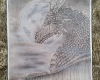Dragon Moon - Fantasy A4 prints - Art by Sabrina Gaudare