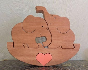 Wooden elephants puzzles - family of elephants - symbol of the family - wooden animals - animals figurines - wedding gift - children's toy