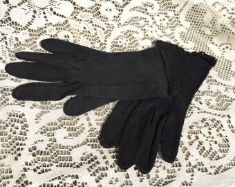 Vintage pair of black gloves