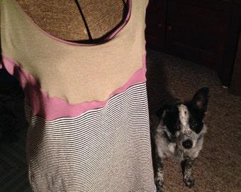 HEMP/spandex and stripy HEMP/cotton jersey tank-top, size XL