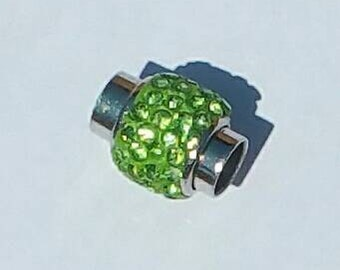 Magnetic Clasp - Kumihimo - Platinum plated brass - Peridot polymer clay with Rhinestones 18 x 13 mm - 7mm hole.