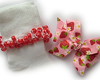 Kathy's Beaded Socks - Strawberry Fields Socks and Hairbow, red socks, pony bead socks, school socks, strawberry socks