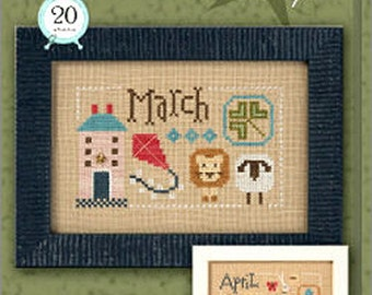 Lizzie Kate Yearbook Double Flip Series - March April F159 Counted Cross Stitch Pattern with Charms