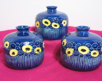 Fred Roberts Weed Pots, Set of 3 Blue Flower Vase, Yellow Abstract Flower design Mid Century Mod