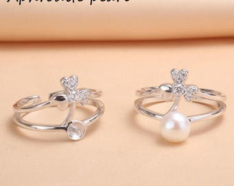 925 silver and zircon ring setting, adjustable ring mounting,jewelry DIY, gift for girls,heart and arrow