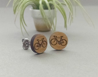 Road Bicycle Earrings - Laser Engraved Alder Wood - Titanium Post Stud Earring Pair Bicycle