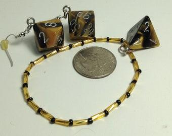 Gold/Black Dice Jewelry Set