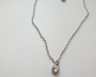 crystal dainty necklace and earring set