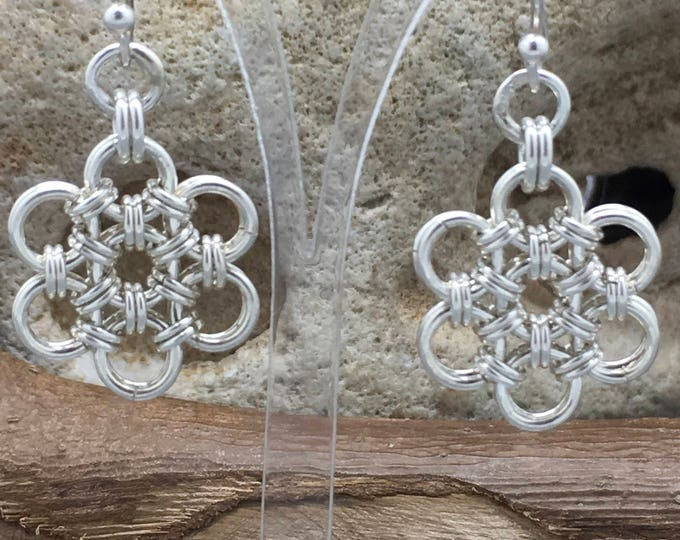Featured listing image: Handcrafted Sterling Silver Japanese Chainmaille Daisy Earrings.