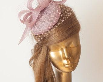 LILAC FASCINATOR. Sinamay Bridal Fascinator with Veil . Heather Derby Mini Hat