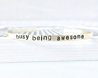 Busy Being Awesome, Skinny Brass Cuff Bracelet, Motivational Bracelets for Women, adjustable, funny jewelry, new job gift, class of 2018