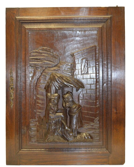 Hand French Carved Antique Cabinet Door Medieval Romantic Scene