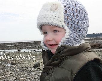 CROCHET HAT PATTERN: Pilot Hat, 'Pee Wee Pilot', Crochet Aviator, 0-3mo & Toddler