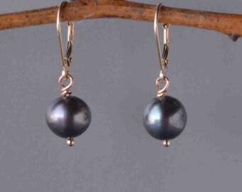 Black Pearl Earrings in Gold- Classic Pearl Drop Earrings in Solid Gold, Dark Pearl Drop Earrings, Round Pearl Earrings, Wedding Pearls