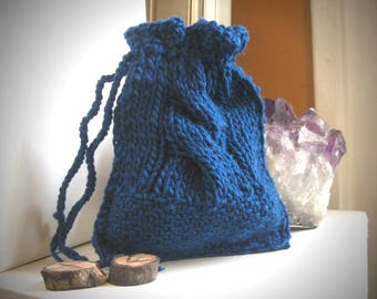 Runes Pouch / rune bag / drawstring rune bag / oracle bag / blue rune bag / divination pouch / altar bag / rune casting / pouch for crystals