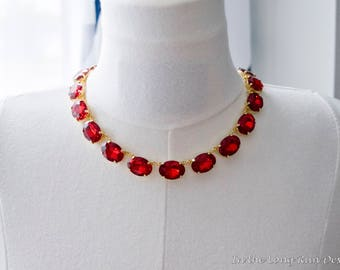 18th Century/Regency Reproduction Ruby Rhinestone Collet Necklace. Siam Red Paste Glass. Rococo, Colonial, Georgian, Historical.