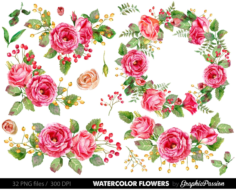 Watercolor flower clipart wedding floral clip art floral zoom izmirmasajfo