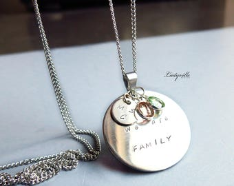 Personalised Necklace - We are Family with Initials