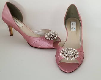 Dusty Rose Bridal Shoes Dusty Rose Wedding Shoes with a Sparkling Crystal Oval Brooch or PICK FROM 100 COLORS Dusty Rose Bridesmaid Shoes