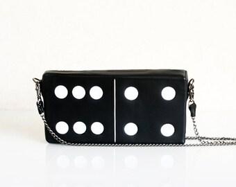 Domino  Tile Bag Black Leather Purse