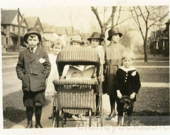 vintage photo 1917 All the Neighbors Children & Baby in Buggy Too