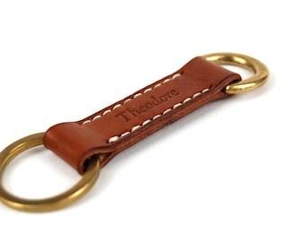 Elegant Brass and Leather Keychain,  Personalized Handmade Keychain, Leather Keyring, Keyfob, Custom Keychain, Mens Keychain