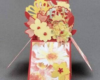 Handmade Flowers box card Red