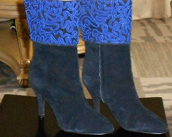 Boots size 7 Newport News Genuine Suede Leather with embroidery.