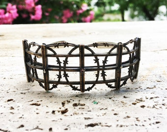 Cuff bracelet, Fence, Barbed Wire, Sterling Silver and Bronze