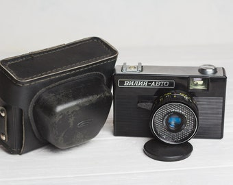 Vilia camera Collectible Soviet Russian camera Lomography Camera 35mm Photo Original black leather case Gift for photographer